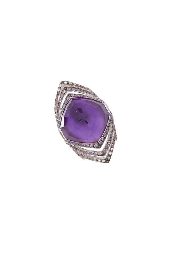 Stephen Webster 18K White Gold Amethyst, Sapphire & Diamond Ring