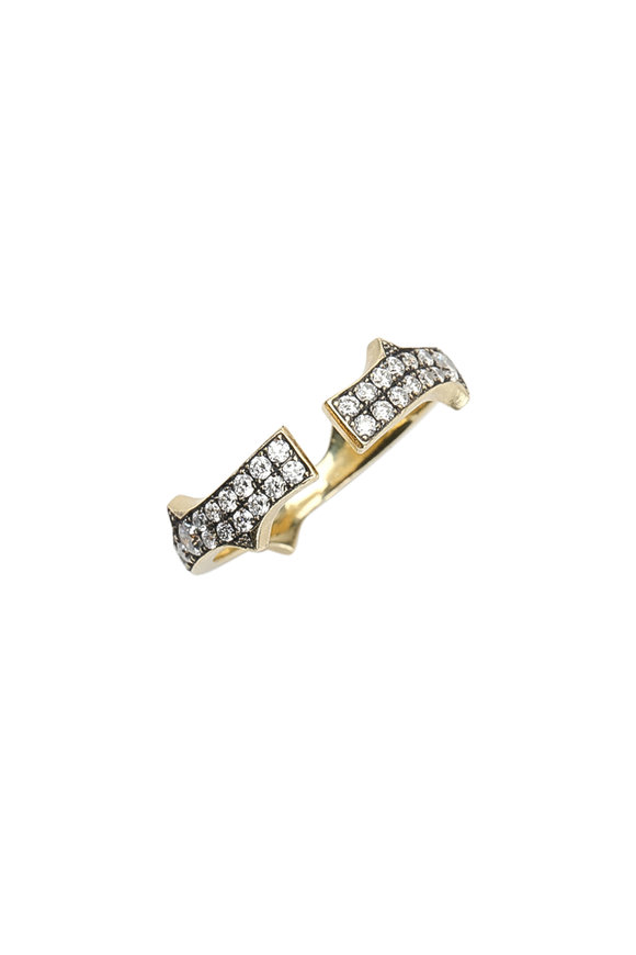 Sylva & Cie 18K Yellow Gold Diamond Split Thorn Ring