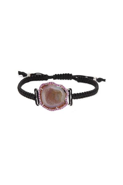 Kimberly McDonald - Black Macrame Natural Geode Pink Sapphire Bracelet