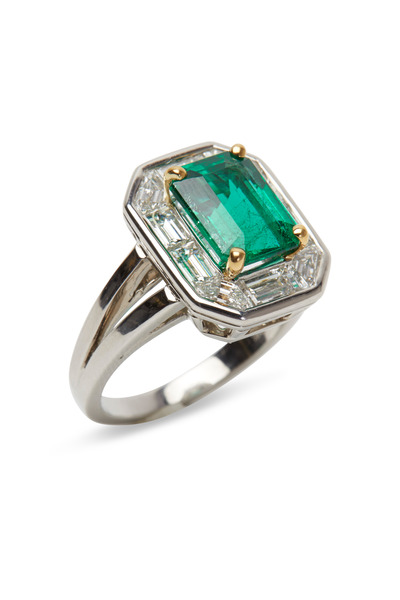 Oscar Heyman - Platinum Emerald & Diamond Ring