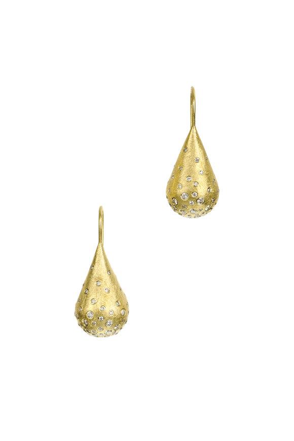 Todd Reed 18K Yellow Gold Diamond Teardrop Earrings