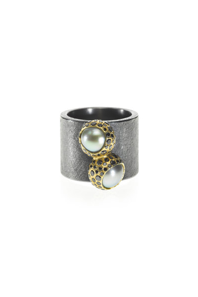 Todd Reed - Silver Patina & Gold Tahitian Pearl & Diamond Ring