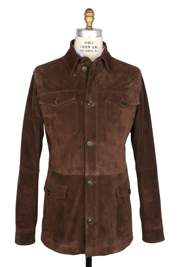 Brioni Chocolate Brown Suede Shirt Jacket