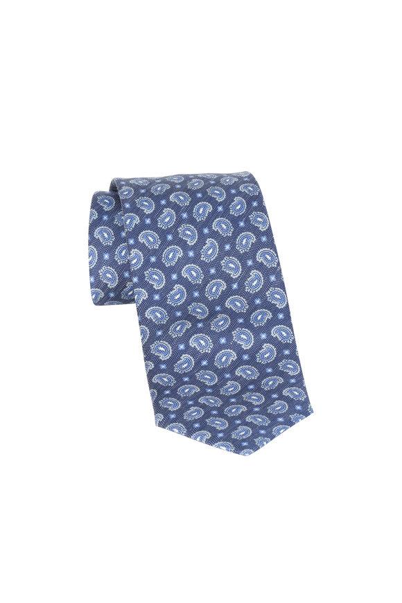 Brioni Dark Blue Paisley Silk & Linen Necktie