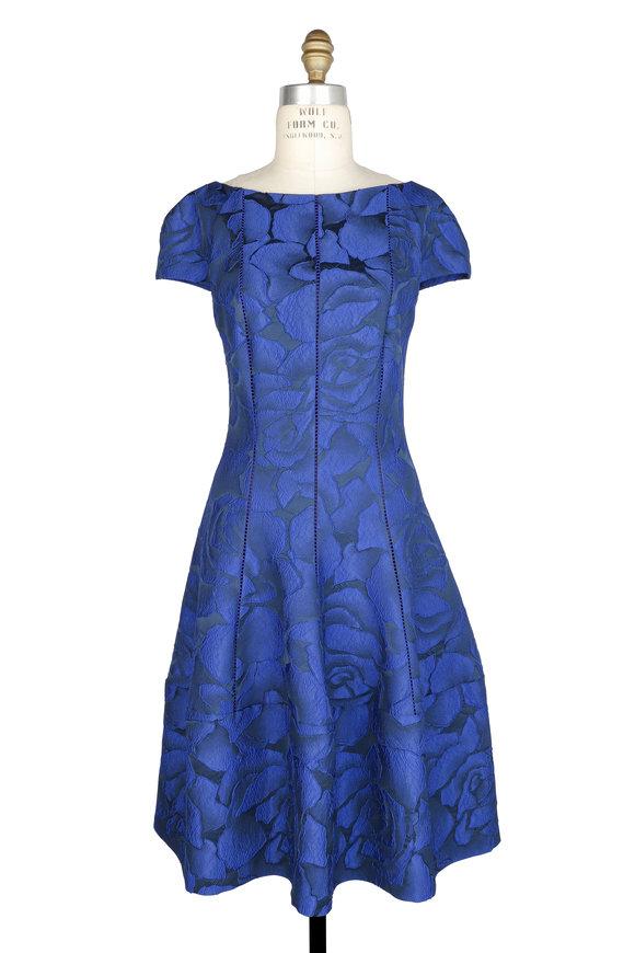 Talbot Runhof Sapphire Jacquard Floral Cap Sleeve Dress