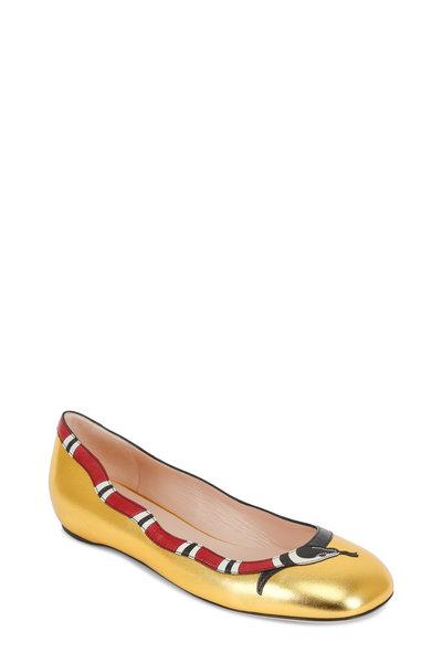 Gucci - Yoko Gold Leather Snake Ballet Flat