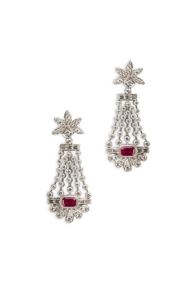 Fred Leighton - Platinum Ruby & Diamond Dangle Earrings