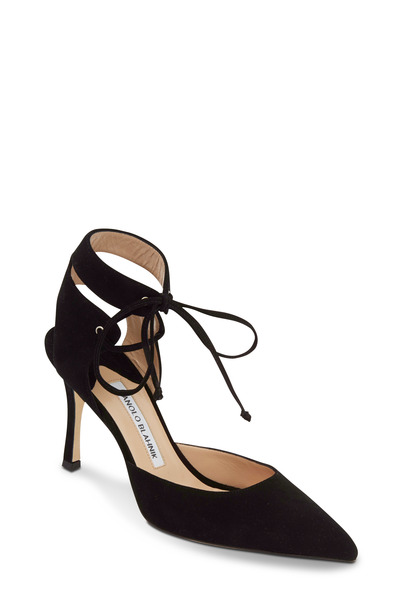Manolo Blahnik - Lara Ankle Strap Black Suede Pump, 90mm