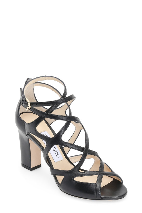 Jimmy Choo Dillan Black Leather Cage Sandal, 85mm