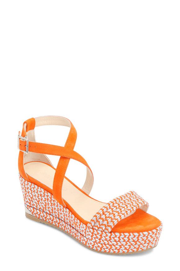 Jimmy Choo Portia Orange Suede Embroidered Wedge Sandal, 70mm
