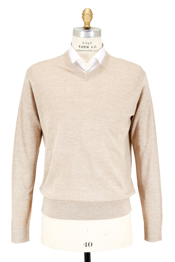 Peter Millar Dune Merino Wool & Linen V-Neck Sweater
