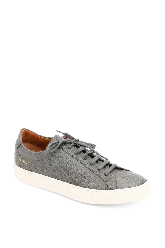 Common Projects Achilles Premium Gray Grained Leather Sneaker