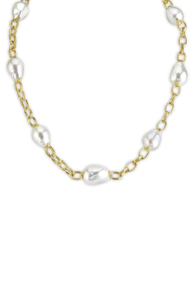 Aaron Henry - Yellow Gold Freshwater Pearl Necklace