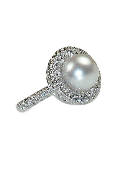 Aaron Henry - White Gold White South Sea Pearl Diamond Ring