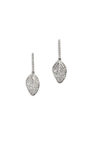 Aaron Henry - White Gold White Diamond Leaf Drop Earrings