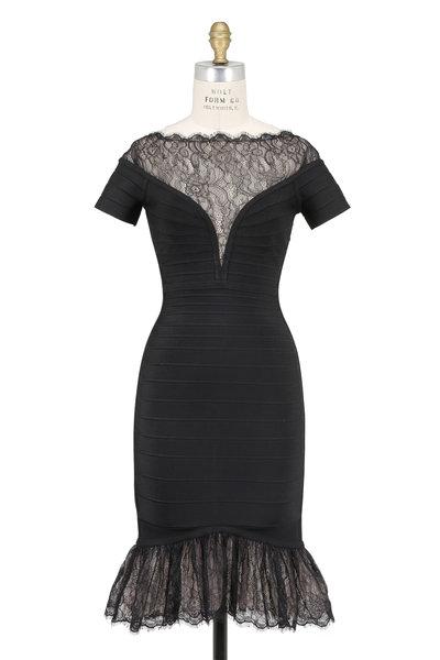 Herve Leger - Orianna Black Vintage Lace Inset Bandage Dress