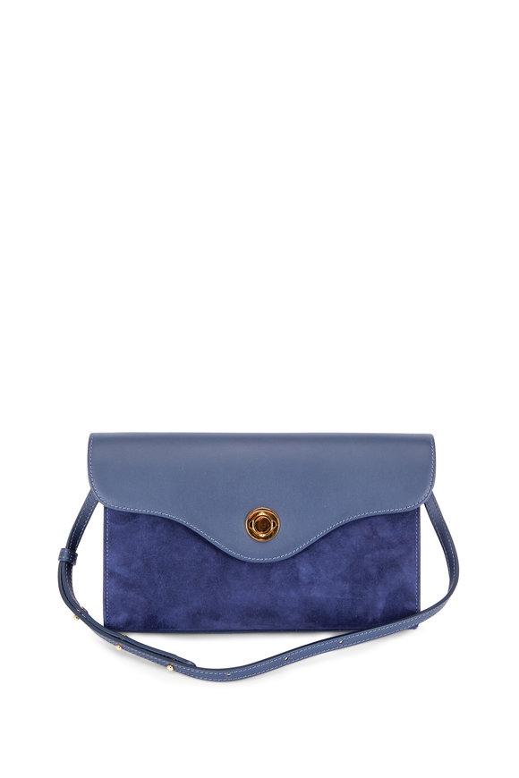 Mansur Gavriel Baguette Navy Blue Leather & Suede Shoulder Bag