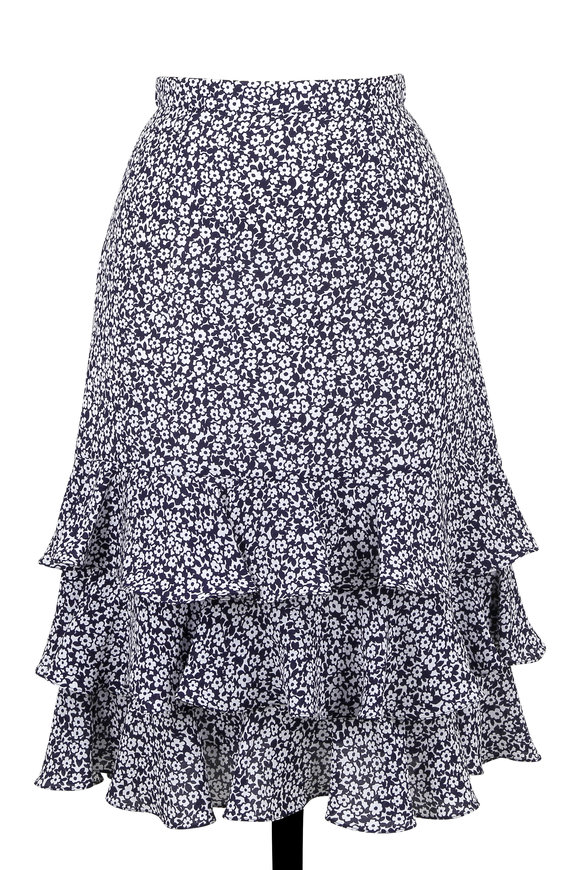 Michael Kors Collection Maritime & White Silk Floral Print Ruffle Skirt