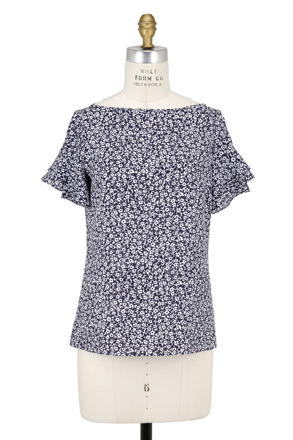 Michael Kors Collection Maritime & White Silk Floral Ruffle Sleeve Blouse