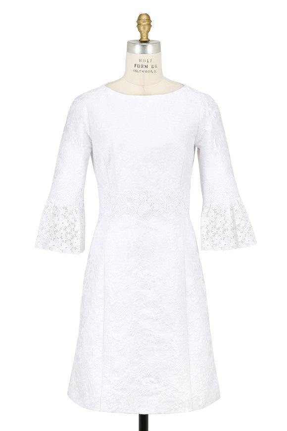 Michael Kors Collection White Floral Jacquard Matelassé Lace Trim Dress