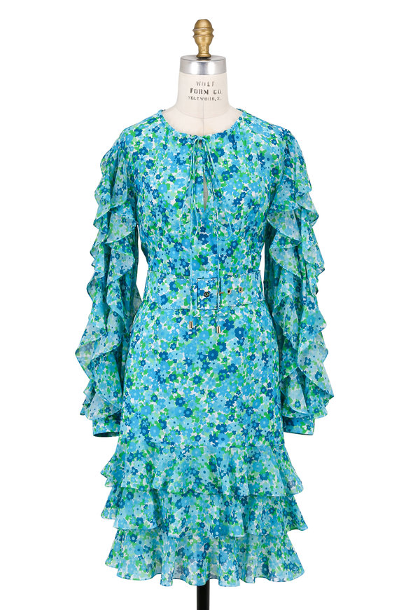 Michael Kors Collection Aqua Blue Silk Georgette Ruffled Long Sleeve Dress