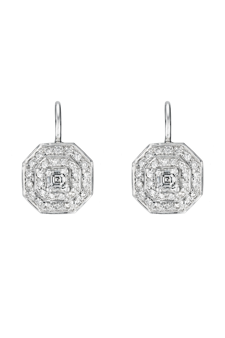 White Gold Small Double Row Pave Octagon Earrings