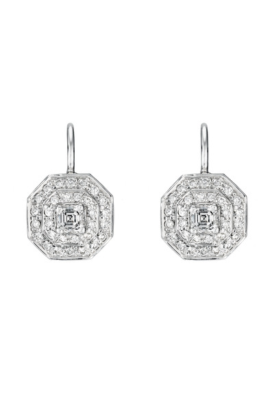 Penny Preville - White Gold Small Double Row Pave Octagon Earrings