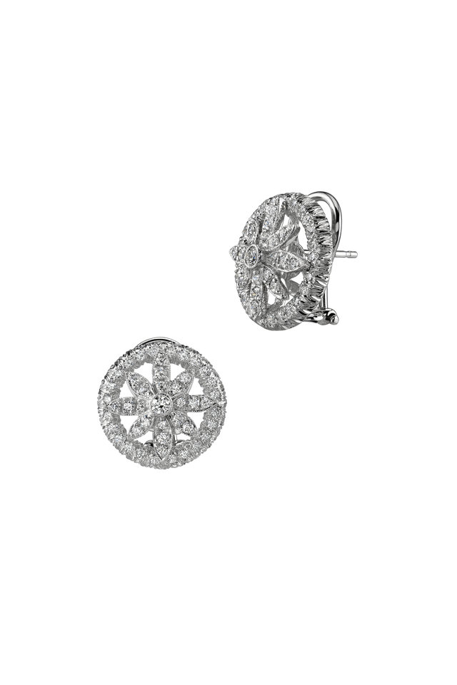 White Gold Round White Diamond Earrings