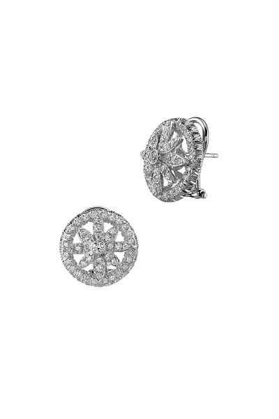 Aaron Henry - White Gold Round White Diamond Earrings