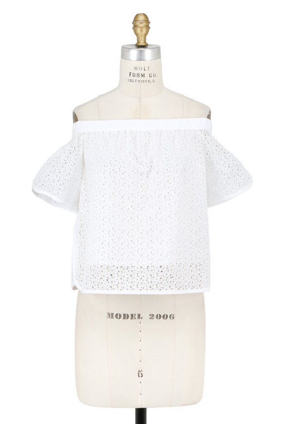 Rag & Bone Flavia White Floral Eyelet Off-The-Shoulder Top