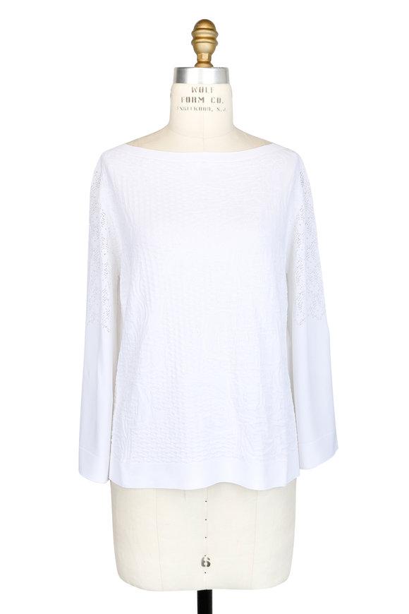 D.Exterior White Rose Jacquard Bell Sleeve Blouse