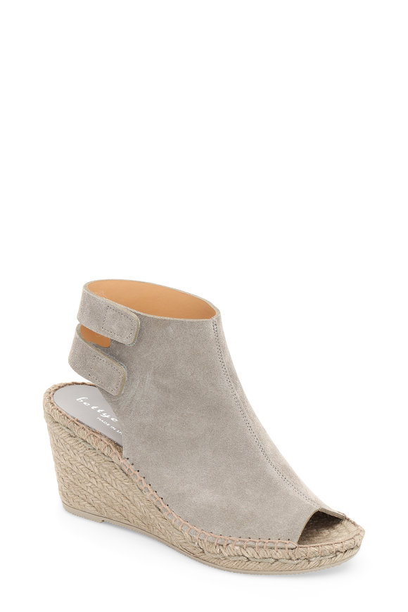 Bettye Muller Gray Suede Wedge Espadrille, 75mm