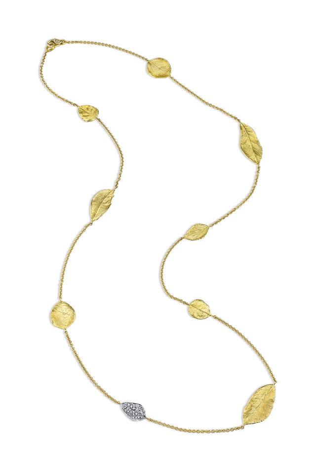 Yellow Gold Aspen & South Oak Leaf Necklace