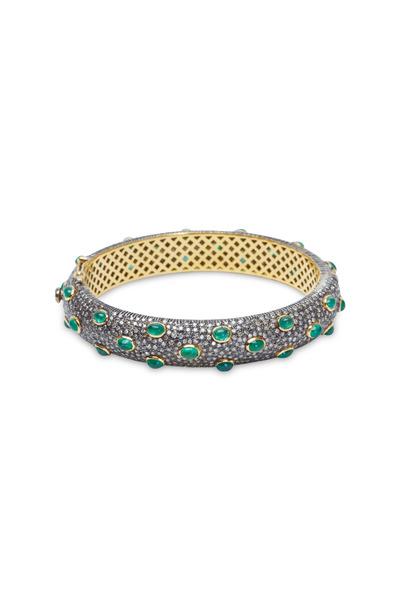 Loren Jewels - Yellow Gold Emerald Pavé Diamond Bracelet