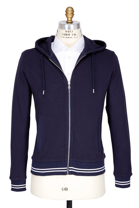 Orlebar Brown Mathers Navy Blue Waffle Knit Hooded Sweatshirt