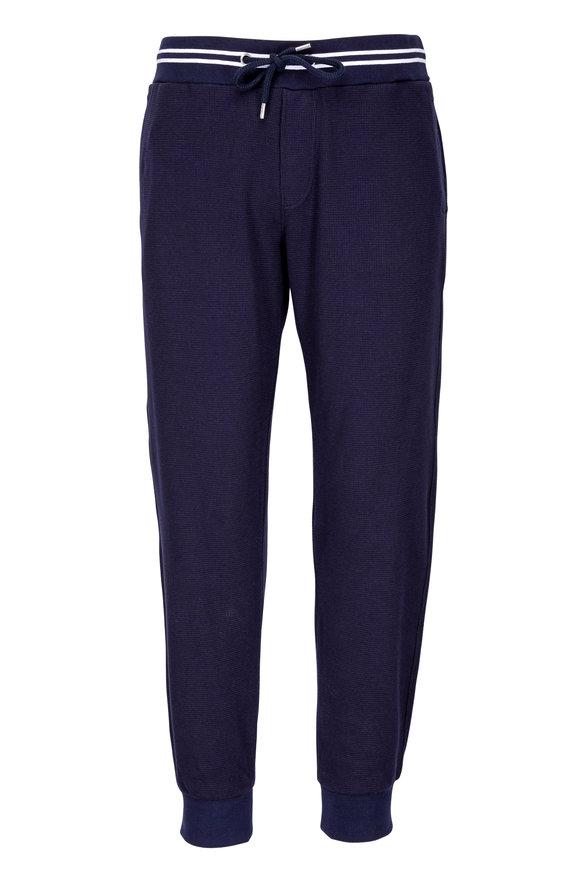 Orlebar Brown Yarwood Navy Blue Waffle Knit Active Pant