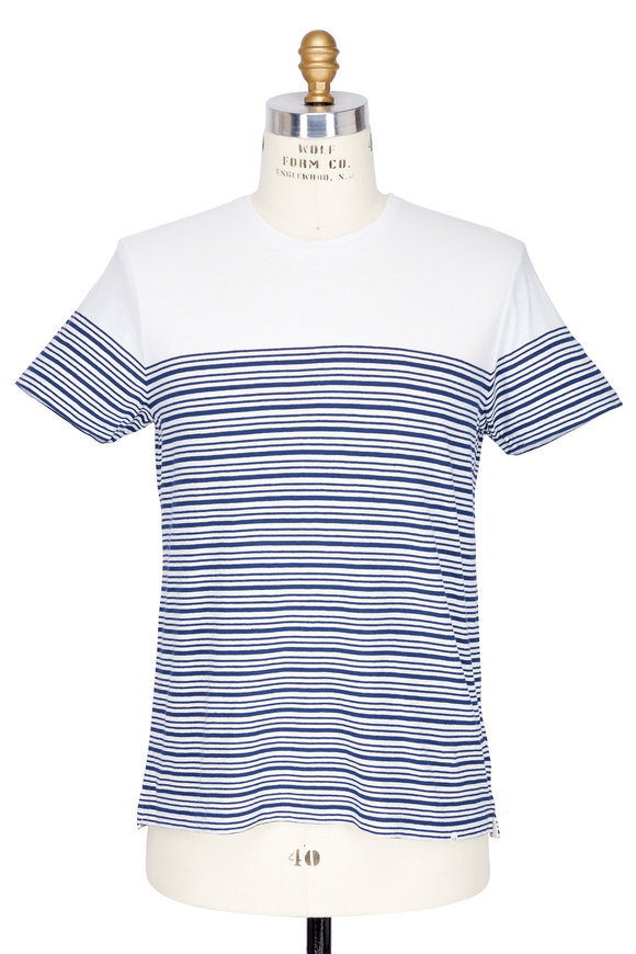 Orlebar Brown Sammy Blue & White Breton Striped T-Shirt