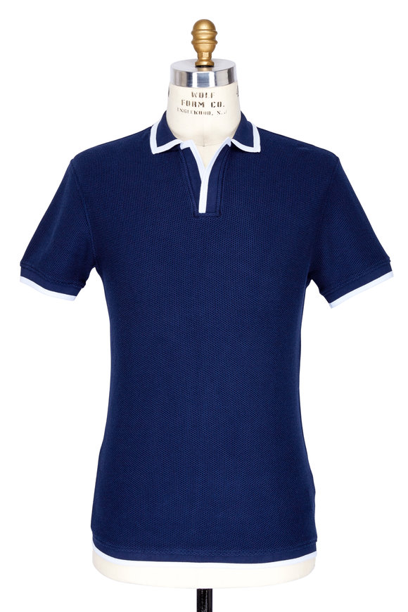 Orlebar Brown Erick Navy Blue Piqué With White Tipping Polo