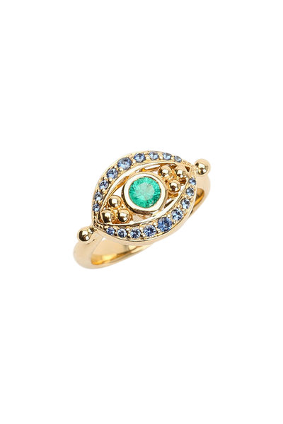 Temple St. Clair - 18K Yellow Gold Emerald & Sapphire Evil Eye Ring