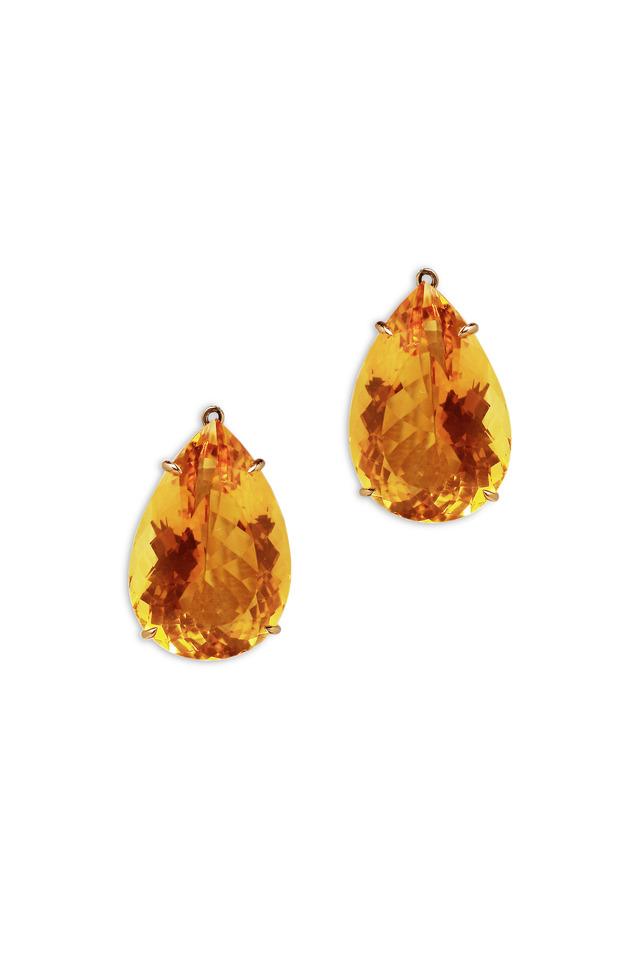 Rose Gold Citrine Drop Earrings