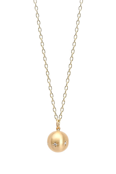 Caroline Ellen - Yellow Gold Diamond Ball Pendant Necklace