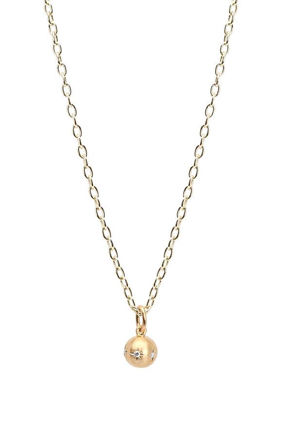 Caroline Ellen Yellow Gold Diamond Ball Pendant Necklace
