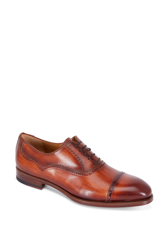Magnanni Lamont Brown Burnished Leather Cap-Toe Oxford