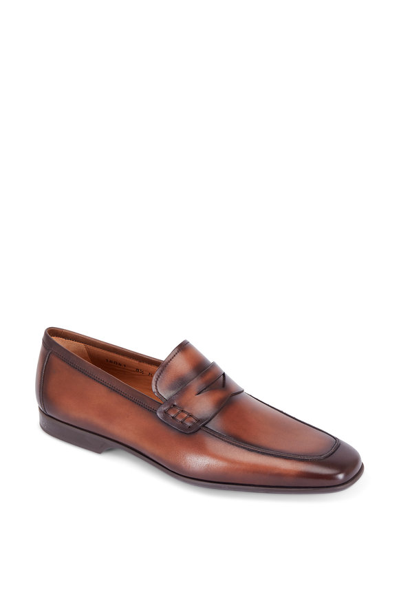 Magnanni Ramiro II Mid Brown Burnished Leather Loafer