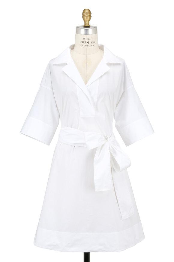 Paule Ka White Stretch Poplin Short Bell Sleeve Dress