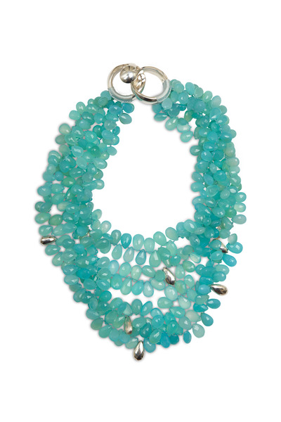Patricia von Musulin - Sterling Silver Aqua Chalcedony Bead Necklace