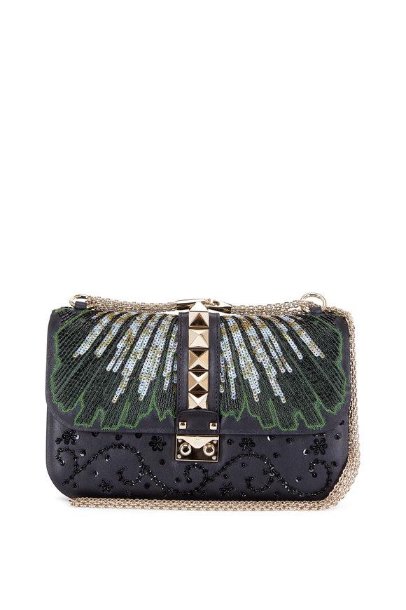 Valentino Lock Black Embellished Medium Shoulder Bag