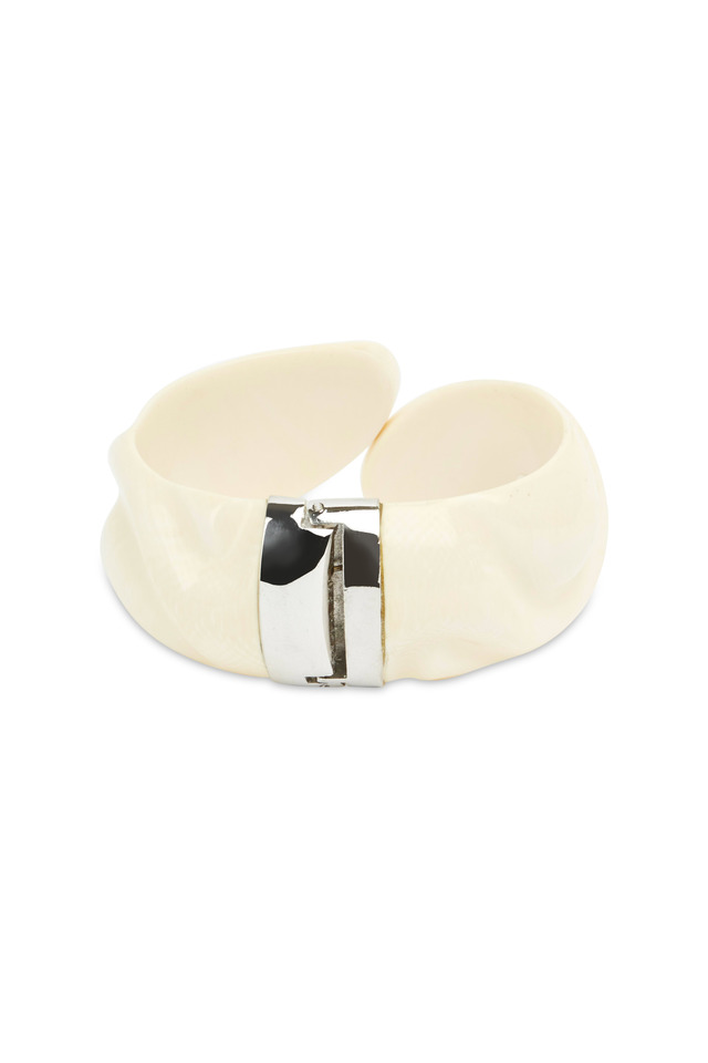 Vintage Ivory Metal Hinge Bracelet