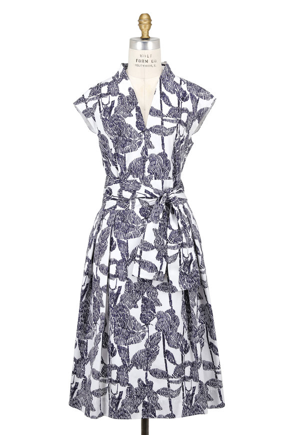 Escada Dlisov White & Dark Blue Cotton Printed Dress