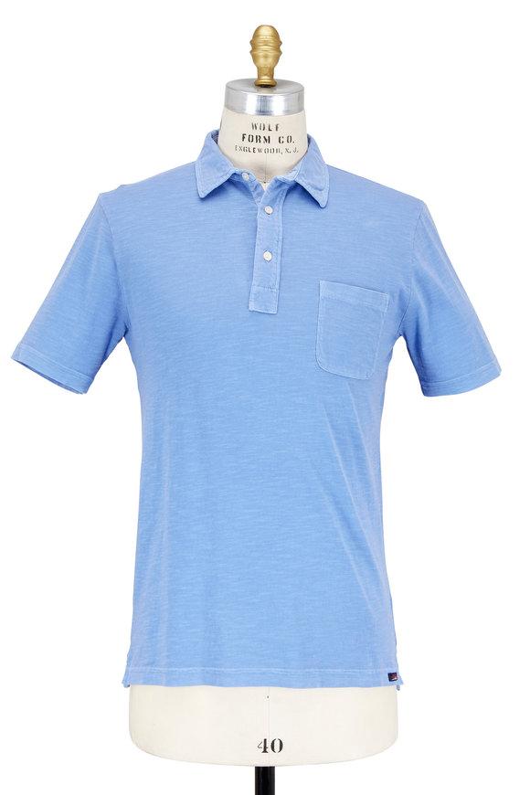 Faherty Brand Bali Blue Slub Cotton Pocket Polo